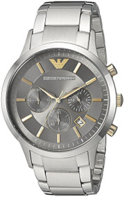 Emporio Armani Renato Chronograph Gray Dial Steel Men Watch AR11047