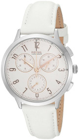 Fossil Abilene Chronograph White Dial Leather Band Women Watch CH4000