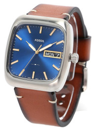 Fossil Rutherford Day Date Brown Leather Strap Square Men Watch FS5334