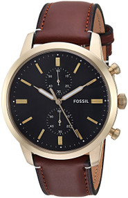Fossil Townsman Chronograph Black Dial Brown Leather Men Watch FS5338