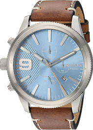 Diesel Rasp Chronograph Blue Dial Brown Leather Band Men Watch DZ4443