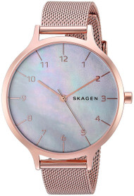 Skagen Anita Mother of Pearl Dial Rose Gold Steel Mesh Watch SKW2633