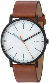 Skagen Signature White Sandblast Dial Brown Leather Band Watch SKW6374