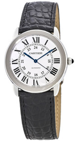cartier ronde solo 36mm steel leather automatic unisex watch wsrn0013