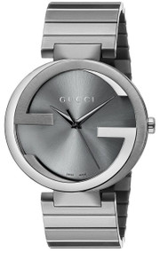 Gucci G Interlocking Gray PVD Steel Swiss Quartz Unisex Watch YA133210