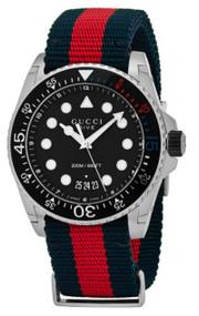 Gucci Dive 45mm Black Matte Dial Blue Red Web Nylon Watch YA136210