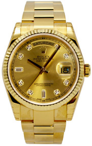 Rolex Perpetual Day-Date 36 Champ Diamonds Dial YG Oyster Watch 118238