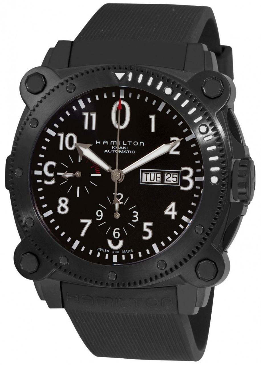 Hamilton h78686333 men 39 s khaki navy automatic diver 39 s for Hamilton dive watch