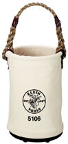 Klein Tools Bucket, #6 Canvas, Straight-Wall, Swivel Snap Hook (5106-S)
