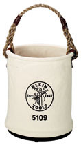 Klein Tools 5109-P Bucket, #6 Canvas, Wide-Opening, Straight Wall