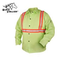 Black Stallion FR Lime Green Welding Coat w/Reflective Trim (FL9-30C/RTT)