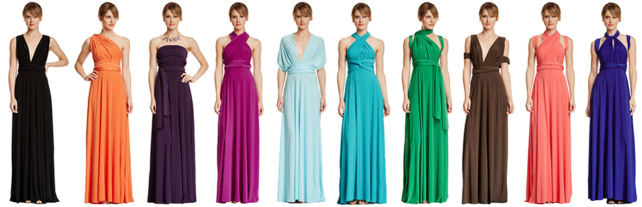 Bridesmaid dresses same style different tops on bite
