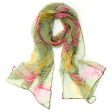 Red and Yellow Roses Silk Scarf