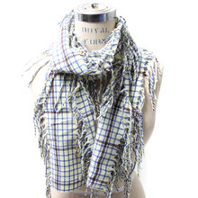 Oblong Checkered Fringe Scarf