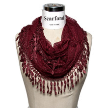 Delicate Lace Infinity Scarf with Teardrop Fringes
