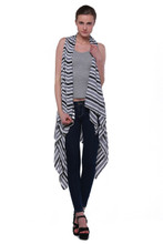 Women's Striped Sleeveless Cardigan / Vest