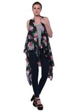 Breezy Floral Print Sleeveless Cardigan Scarf Vest