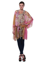 Silky Feel Large Floral Chiffon Poncho Blouse