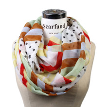 Polka Dots Mix Color Stripe Scarf