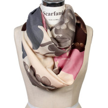 Vibrant Color Floral Print Infinity Scarf