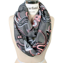 Vibrant Color Paisley Print Infinity Scarf