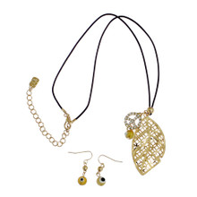 Golden Leaf with Peace Sign Necklace & Earrings Set