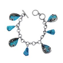 Turquoise Stone Charm Bracelet