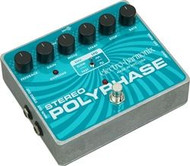Electro-Harmonix STEREO POLYPHASE Analog Optical Envelope/LFO Phase Shifter 24DC-100 PSU included BEING DISCONTINUED, VERY LITTLE STOCK LEFT