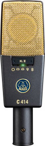 AKG C414 XLS Reference Multipattern Condenser Microphone with peak hold LED for recording of lead vocals and solo instruments in studio and on stage.