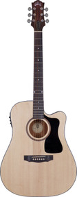 Guild AD-3CE Mahogany Dreadnought Cutaway Natural With Case 3830106821