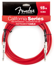 Fender 15Qz Clear Guitar Cable Candy Apple Red 0990515009