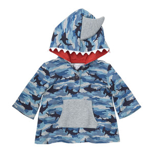 Camo Shark Print Hooded Sweater