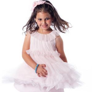 Pink Tiered Mesh Dress