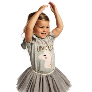 Gray Sequin Top, Always Be A Unicorn 2T-3T
