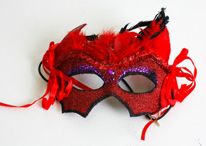 Red Sparkly Masquerade Ball Mask with Feathers and Crystals