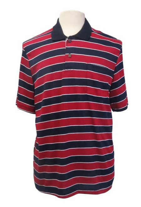 Mens Open-Back Shoulder Snap Polo and Henley Shirts-Navy/Red Stripe