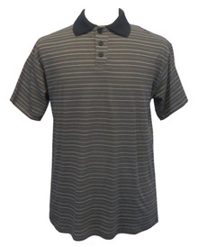 Mens Open-Back Shoulder Snap Striped Polo Shirt-Short Sleeve, Grey