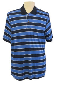Mens Open-Back Shoulder Snap Polo and Henley Shirts-Navy/Blue Stripe
