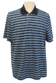 Mens Open-Back Shoulder Snap Polo and Henley Shirts-Navy/Aqua Stripe