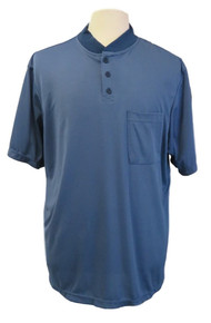 Mens Open-Back Shoulder Snap Polo and Henley Shirts-Denim Blue Henley