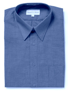 BENEFIT WEAR Men's Dress Shirt with Velcro® Brand Closure-Short Sleeve, Denim Blue