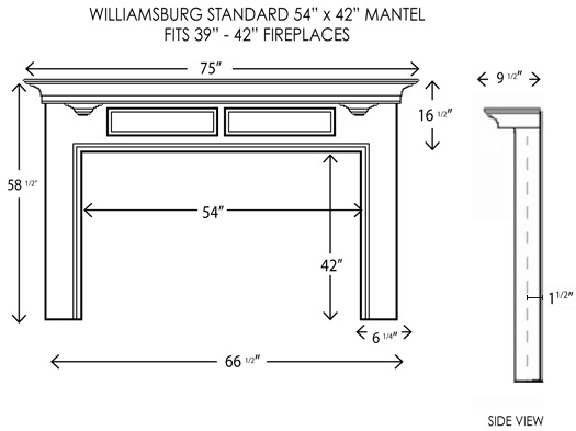 Wood Fireplace Mantels | Fireplace Surrounds | Williamsburg ...