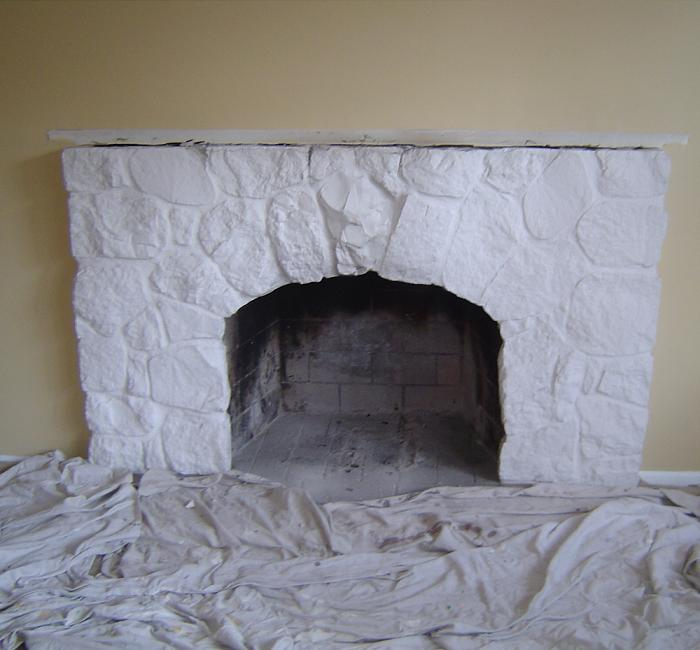 Before Fireplace Makeover | Stone fireplace facade