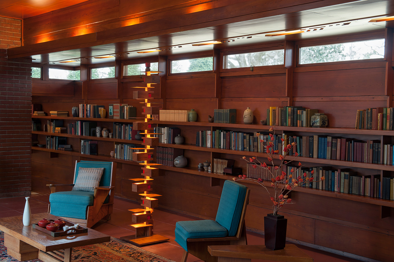 Frank Lloyd Wright Designed Taliesin 2 floor lamp Cherry Edition available from AlaModerna shown in the Frank Lloyd Wright Rosenbaum House in Florence, AL