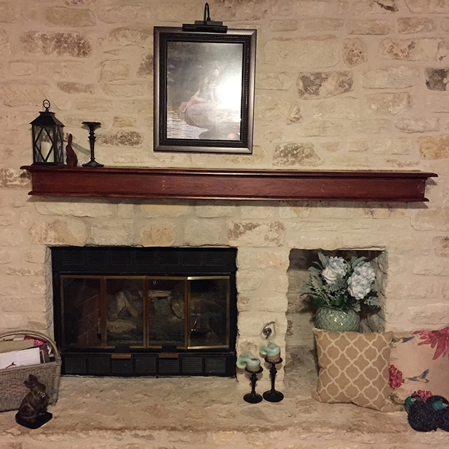 Mantel shelf before pic