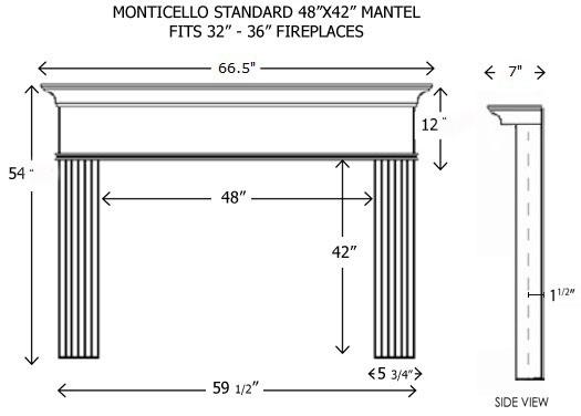 Wood Fireplace Mantels   Builder Mantels   Monticello Standard ...