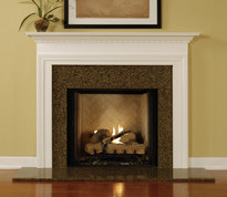 The Westin fireplace mantel shown in semi gloss white.
