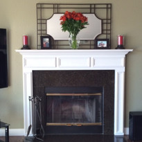 A custom white mantel was featured in this family room fireplace makeover! More images on our Testimonials page!