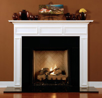 The Danbury fireplace mantel shown in semi gloss white.