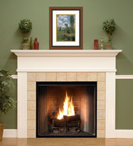 The Monticello mantel shown in semi gloss white.